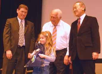 (photo) raffle winners with Tommy Lasorda and Ambassador Fujisaki