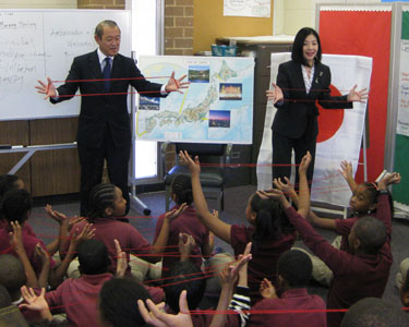 Ambassador and Mrs. Fujisaki at Orr Elementary School
